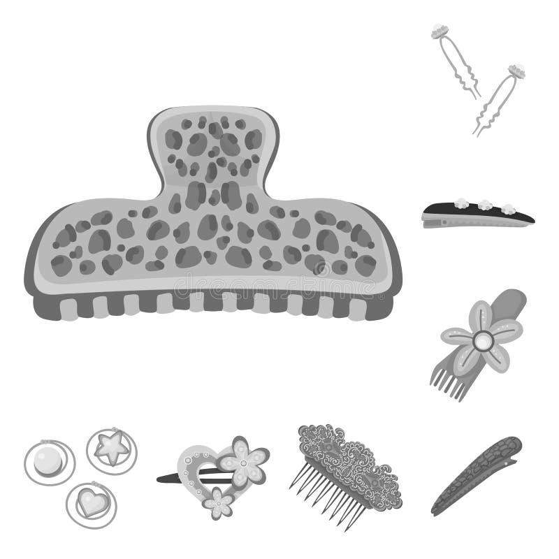 Isolerat objekt av frisering- och haircliptecknet St?ll in av frisering- och modevektorsymbolen f?r materiel royaltyfri illustrationer