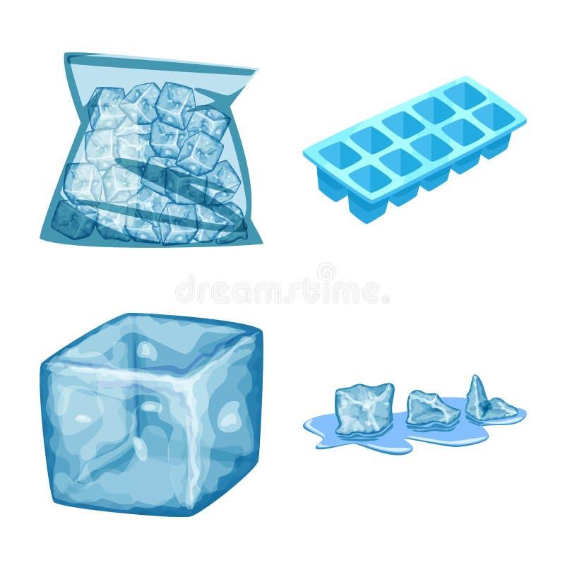 Isolerat objekt av frost- och vattensymbolen Samling av frost och v?t vektorsymbol f?r materiel stock illustrationer