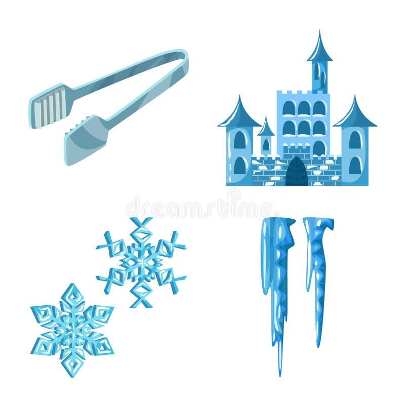Isolerat objekt av frost- och vattensymbolen St?ll in av frost och den v?ta vektorsymbolen f?r materiel stock illustrationer