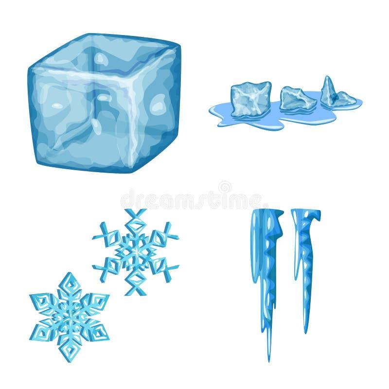 Isolerat objekt av frost- och vattensymbolen St?ll in av frost och den v?ta vektorsymbolen f?r materiel royaltyfri illustrationer