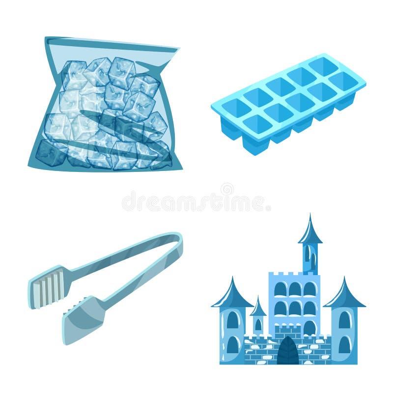 Isolerat objekt av frost- och vattensymbolet St?ll in av frost och den v?ta vektorsymbolen f?r materiel royaltyfri illustrationer