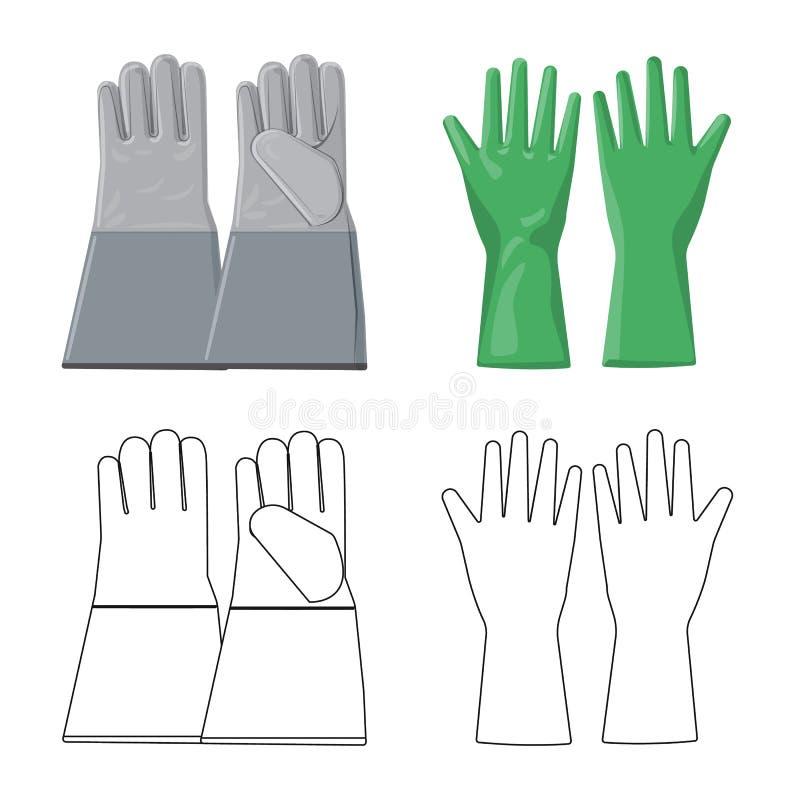Isolerat objekt av handsken och vinterlogoen Samling av illustrationen för handske- och utrustningmaterielvektor vektor illustrationer
