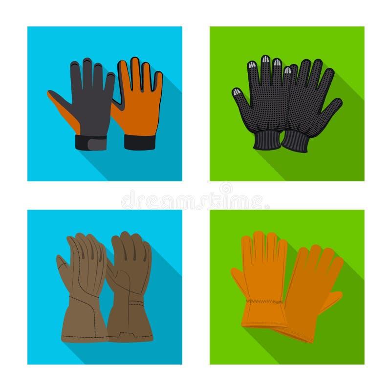 Isolerat objekt av handsken och vinterlogoen Upps?ttning av handske- och utrustningmaterielsymbolet f?r reng?ringsduk stock illustrationer