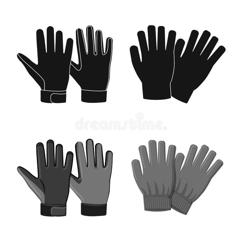 Isolerat objekt av handsken och vintersymbolen Samling av handske- och utrustningmaterielsymbolet f?r reng?ringsduk stock illustrationer