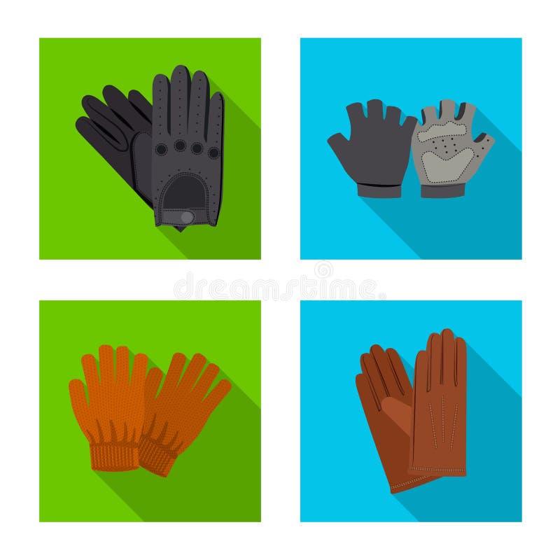 Isolerat objekt av handsken och vintersymbolet Upps?ttning av illustrationen f?r handske- och utrustningmaterielvektor royaltyfri illustrationer