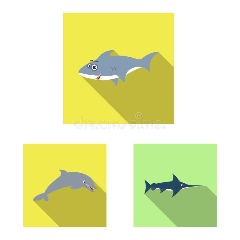 Isolerat objekt av havs- och djurlogoen Uppsättning av havs- och flottamaterielsymbolet för rengöringsduk stock illustrationer