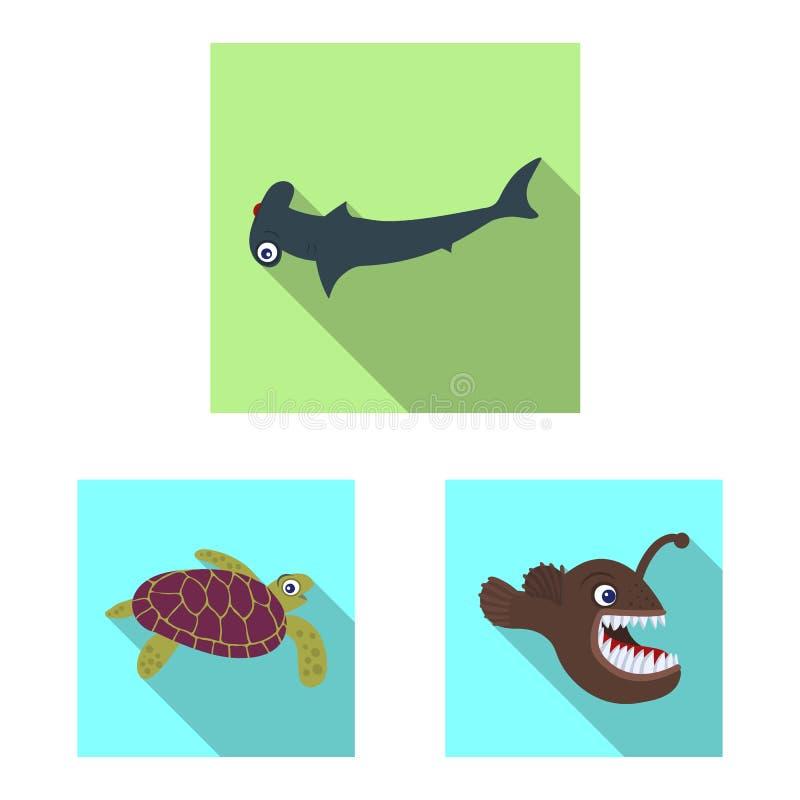 Isolerat objekt av havs- och djursymbolen Uppsättning av havet och den marin- materielvektorillustrationen royaltyfri illustrationer