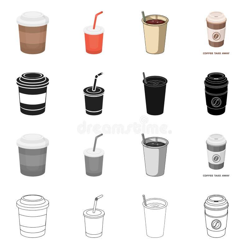 Isolerat objekt av kaffe- och kopplogoen St?ll in av kaffe och den varma vektorsymbolen f?r materiel royaltyfri illustrationer