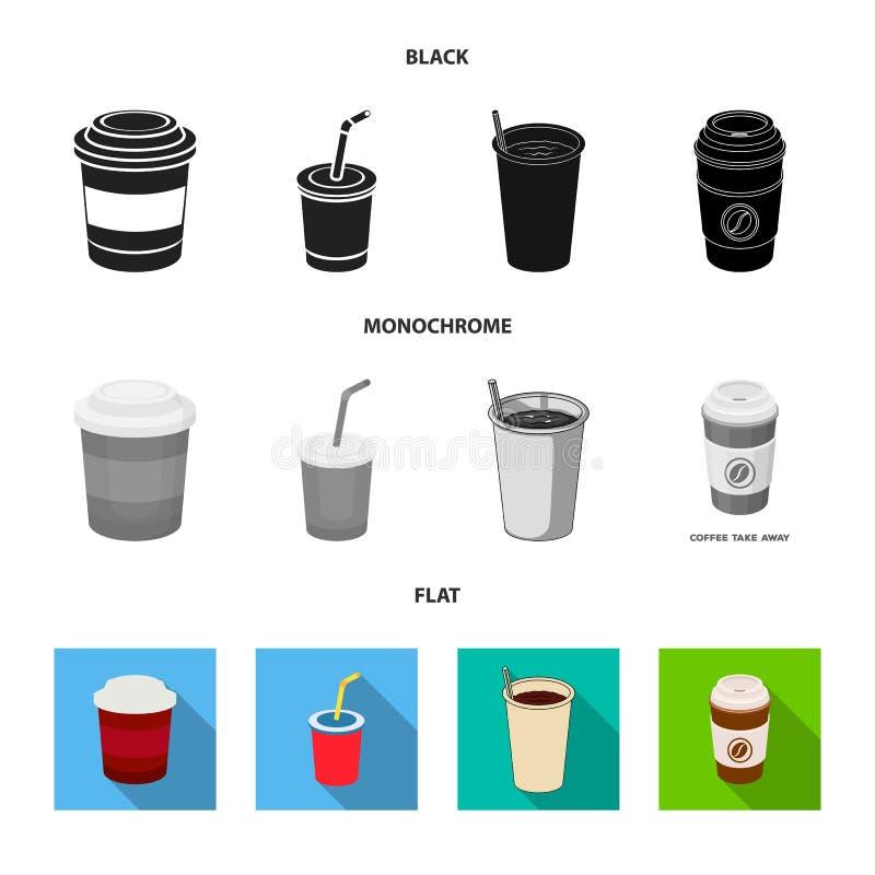 Isolerat objekt av kaffe- och koppsymbolet Samlingen av kaffe och varma lagerf?r vektorillustrationen royaltyfri illustrationer