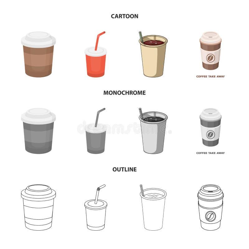 Isolerat objekt av kaffe- och kopptecknet Samlingen av kaffe och varma lagerf?r symbolet f?r reng?ringsduk stock illustrationer