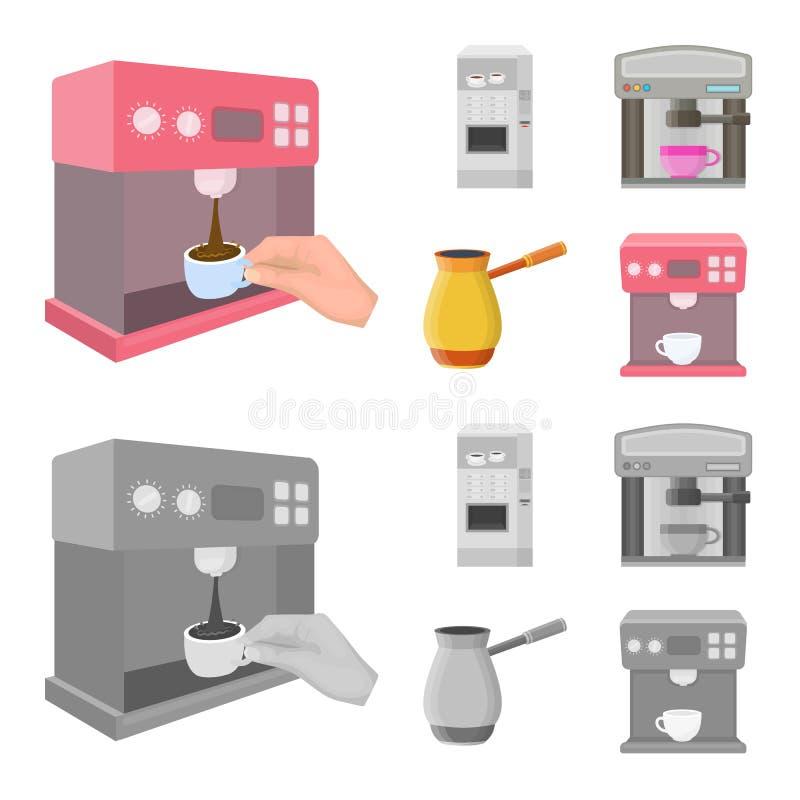Isolerat objekt av kaffe- och maskinsymbolen St?ll in av illustration f?r kaffe- och k?kmaterielvektor stock illustrationer