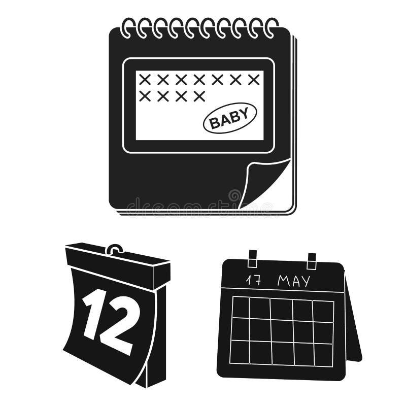 Isolerat objekt av kalender- och fläcklogoen Ställ in av kalender och illustration för veckamaterielvektor vektor illustrationer