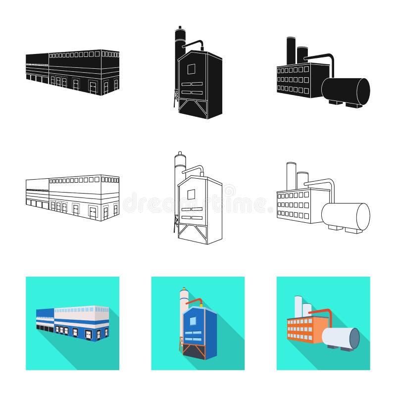 Isolerat objekt av konstruktions- och utrustninglogoen Ställ in av konstruktions- och tillverkningsvektorsymbolen för materiel stock illustrationer