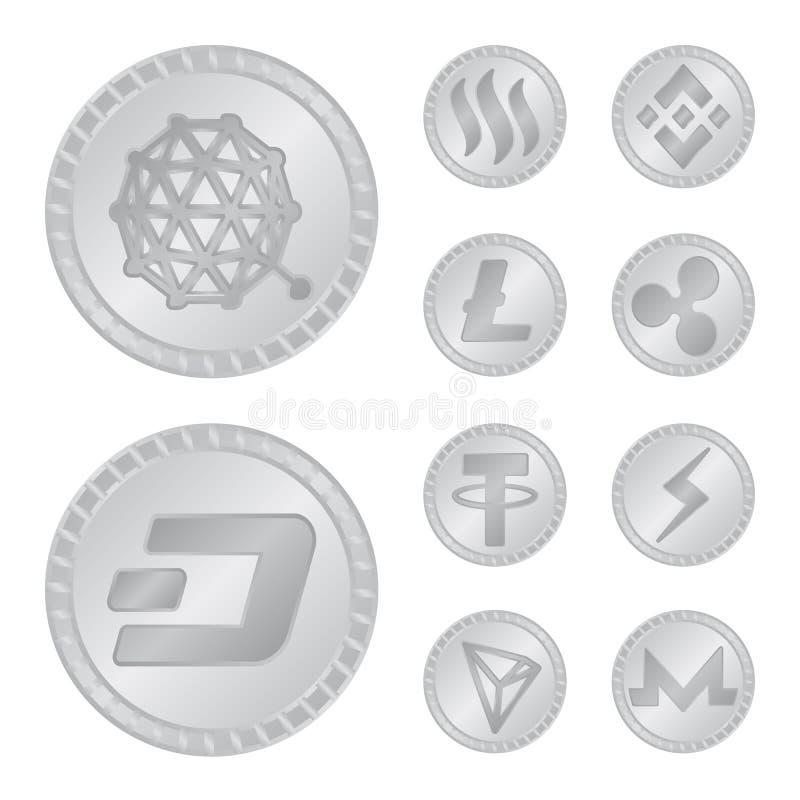 Isolerat objekt av kryptografi- och finanslogoen Samling av den kryptografi- och e-affär vektorsymbolen för materiel stock illustrationer