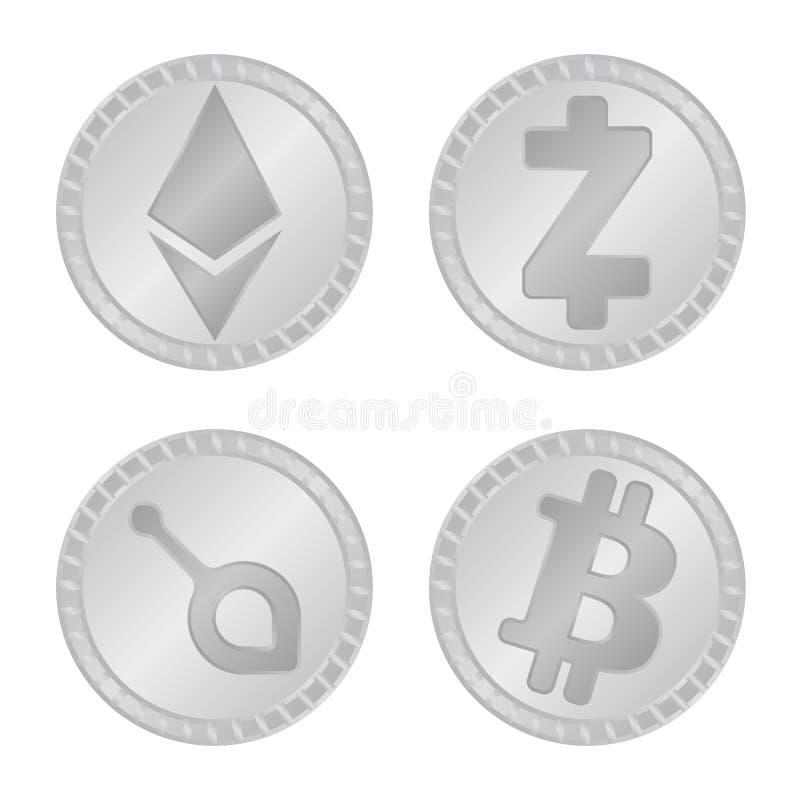 Isolerat objekt av kryptografi- och finanslogoen Ställ in av den kryptografi- och e-affären vektorsymbolen för materiel stock illustrationer
