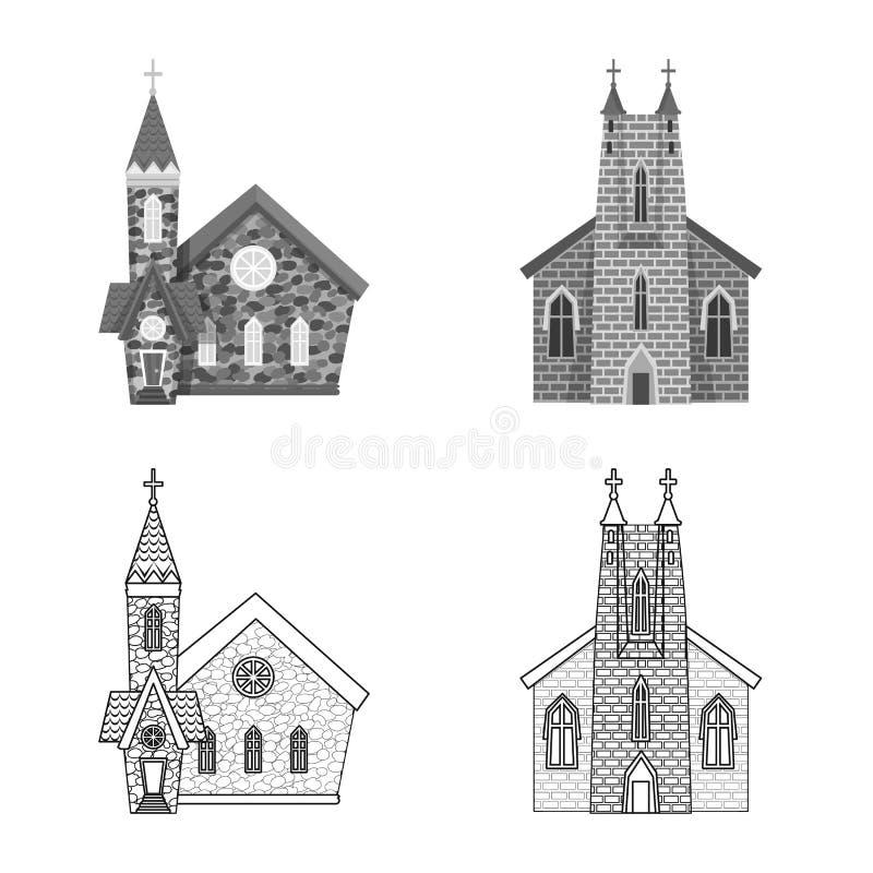 Isolerat objekt av kult och tempellogoen Samling av kult och illustrationen f?r f?rsamlingmaterielvektor stock illustrationer