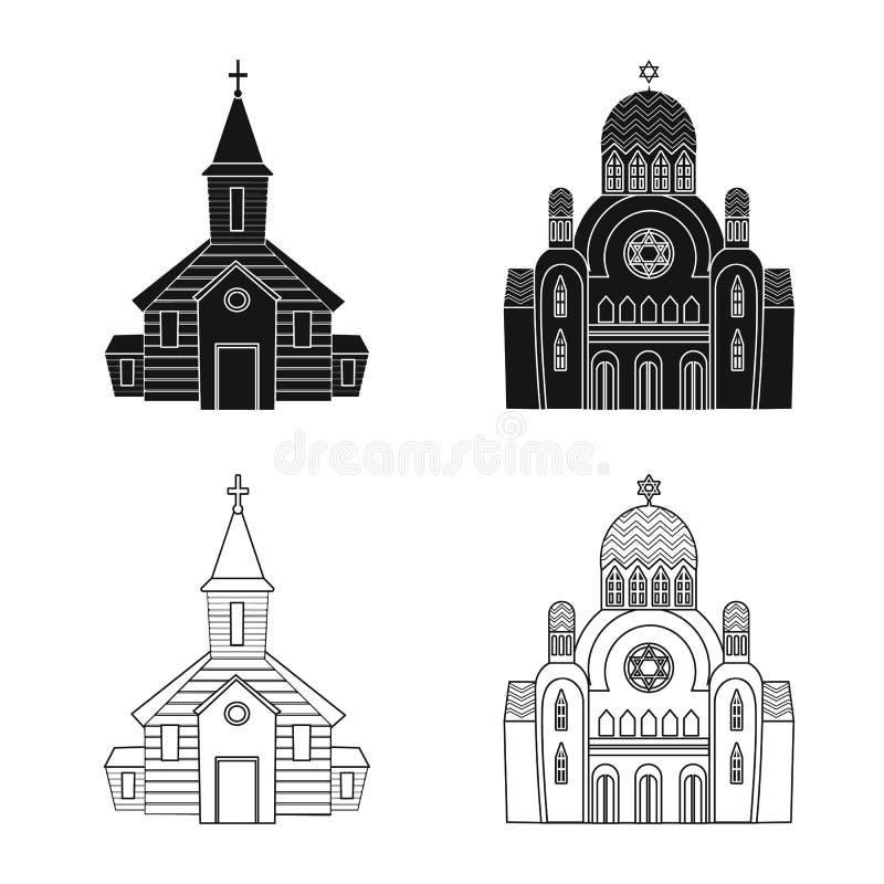 Isolerat objekt av kult och tempellogoen St?ll in av kult och f?rsamlingvektorsymbolen f?r materiel royaltyfri illustrationer