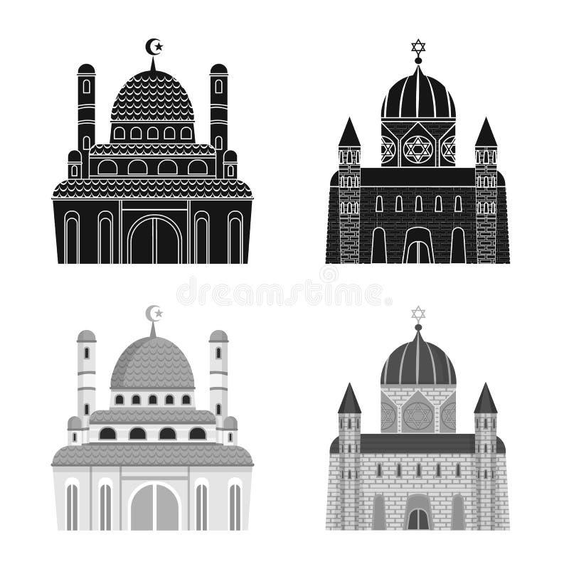 Isolerat objekt av kult och tempelsymbolen r royaltyfri illustrationer