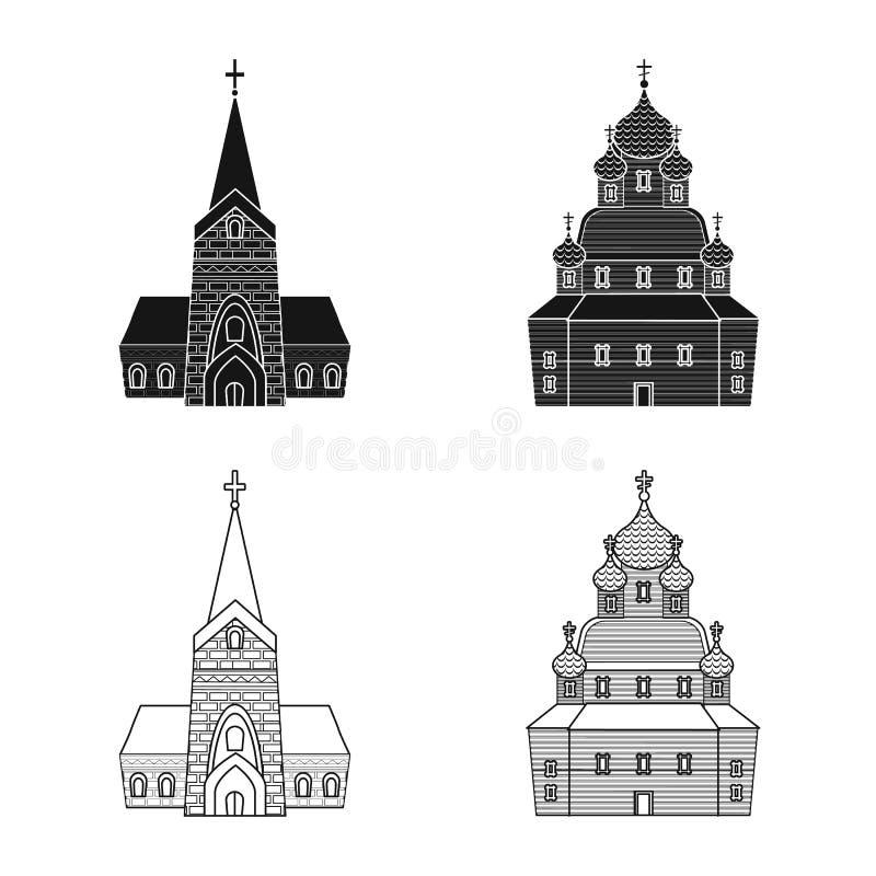 Isolerat objekt av kult och tempelsymbolen Samling av kult och f?rsamlingmaterielsymbolet f?r reng?ringsduk stock illustrationer