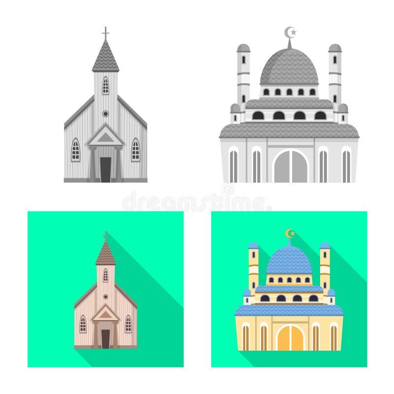 Isolerat objekt av kult och tempelsymbolen Samling av kult och illustrationen f?r f?rsamlingmaterielvektor stock illustrationer