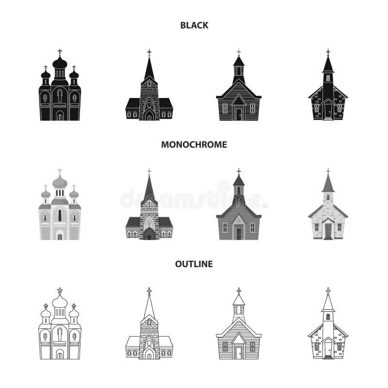 Isolerat objekt av kult och tempelsymbolen Samling av kult och illustrationen f?r f?rsamlingmaterielvektor vektor illustrationer