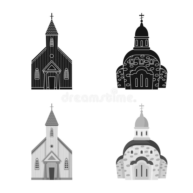 Isolerat objekt av kult och tempelsymbolen St?ll in av kult och f?rsamlingmaterielsymbolet f?r reng?ringsduk stock illustrationer