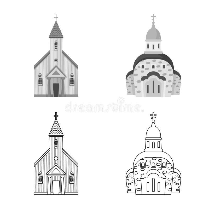 Isolerat objekt av kult och tempelsymbolet St?ll in av kult och f?rsamlingvektorsymbolen f?r materiel royaltyfri illustrationer