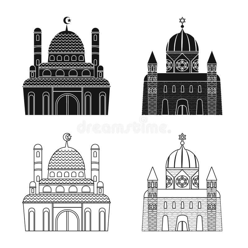 Isolerat objekt av kult och tempeltecknet Samling av kult och illustrationen f?r f?rsamlingmaterielvektor royaltyfri illustrationer