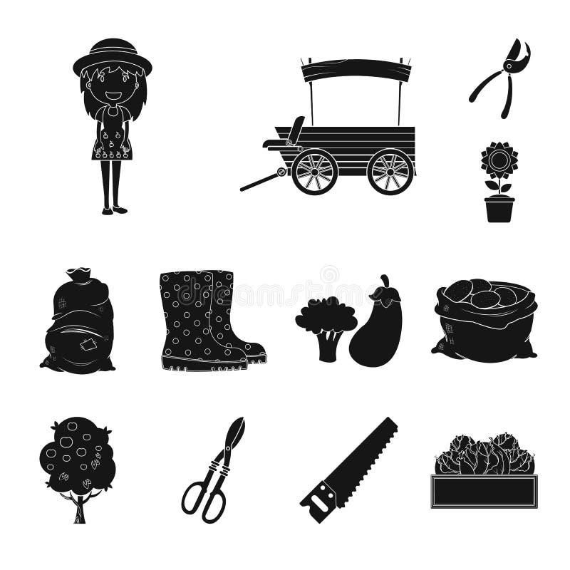 Isolerat objekt av lantgård- och jordbruktecknet Samling av lantgård- och växtvektorsymbolen för materiel vektor illustrationer