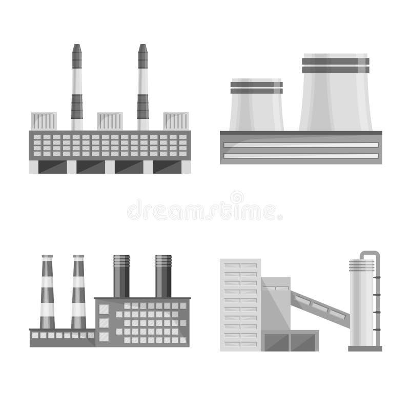 Isolerat objekt av produktion- och strukturlogoen St?ll in av produktion- och teknologivektorsymbolen f?r materiel stock illustrationer