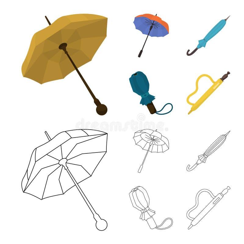 Isolerat objekt av skydd och den stängda logoen Ställ in av skydd och den regniga vektorsymbolen för materiel royaltyfri illustrationer