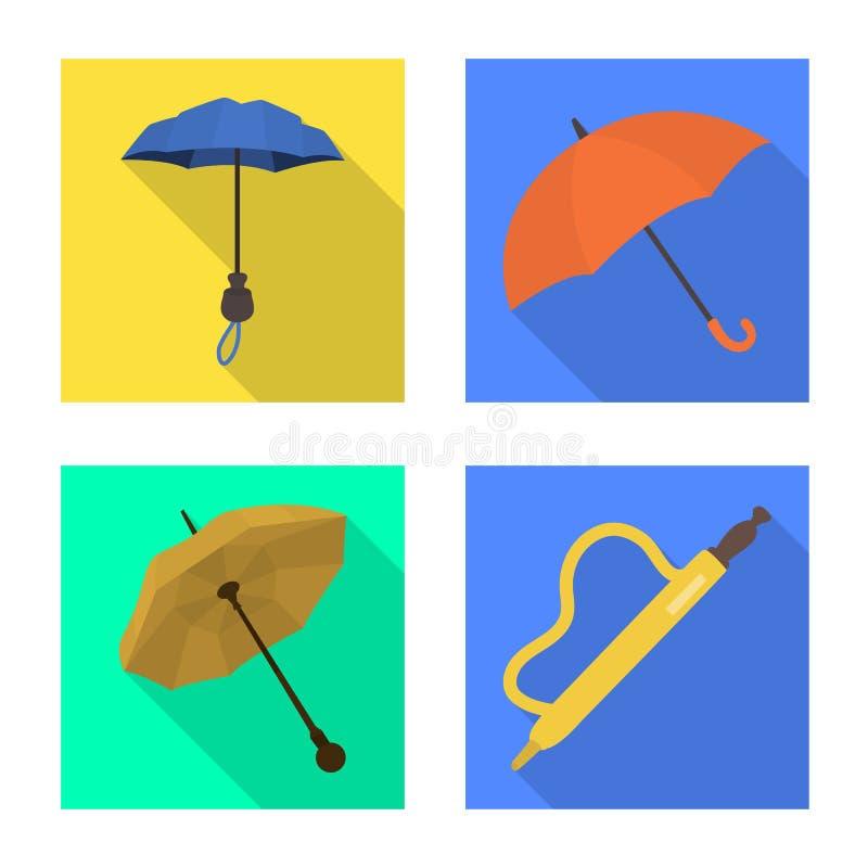 Isolerat objekt av skydd och den stängda symbolen Samlingen av skydd och regnigt lagerför symbolet för rengöringsduk vektor illustrationer