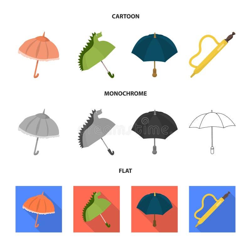 Isolerat objekt av skydd och det stängda tecknet Ställ in av skydd och den regniga vektorsymbolen för materiel stock illustrationer