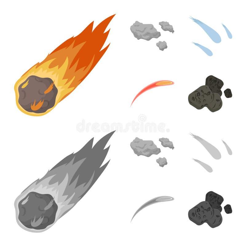 Isolerat objekt av skytte- och brandsymbolet Samling av skytte- och asteroidvektorsymbolen f?r materiel stock illustrationer