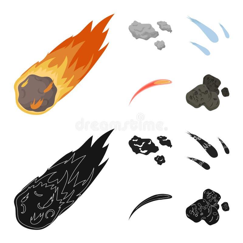 Isolerat objekt av skytte- och brandsymbolet Upps?ttning av illustrationen f?r skytte- och asteroidmaterielvektor royaltyfri illustrationer