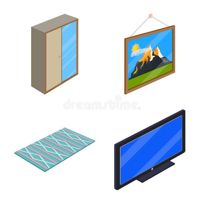 Isolerat objekt av sovrum- och rumlogoen Samling av sovrum- och möblemangvektorsymbolen för materiel royaltyfri illustrationer