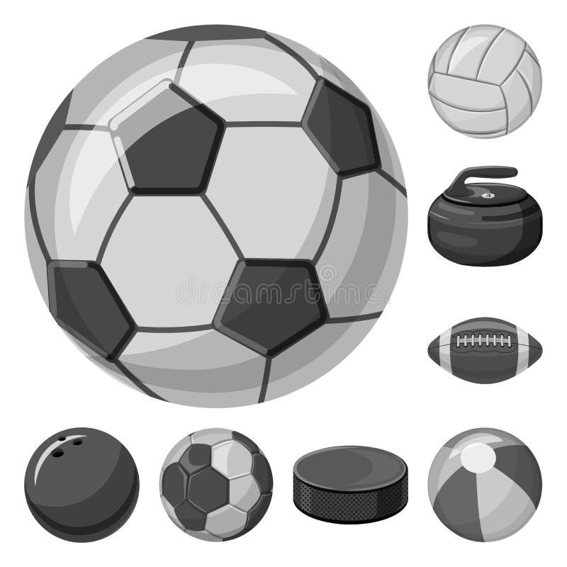 Isolerat objekt av sport- och bolllogoen Upps?ttning av sporten och den idrotts- materielvektorillustrationen stock illustrationer