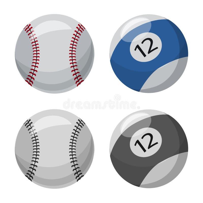 Isolerat objekt av sport- och bollsymbolen Samling av sporten och det idrotts- materielsymbolet f?r reng?ringsduk vektor illustrationer
