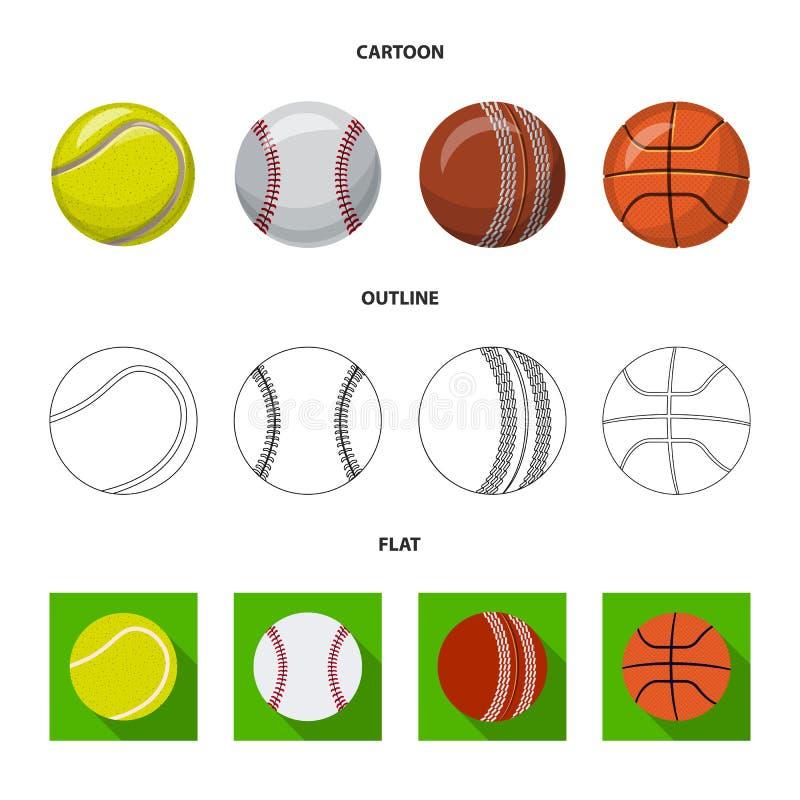 Isolerat objekt av sport- och bollsymbolen Samling av sporten och idrotts- vektorsymbol f?r materiel royaltyfri illustrationer