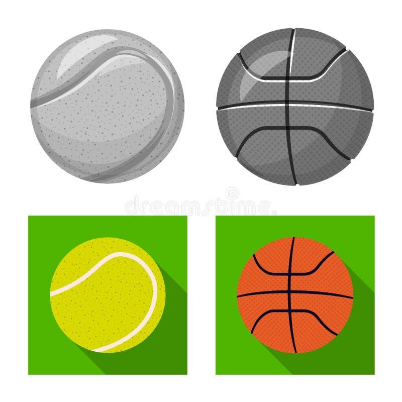 Isolerat objekt av sport- och bollsymbolet Samling av sporten och det idrotts- materielsymbolet för rengöringsduk vektor illustrationer