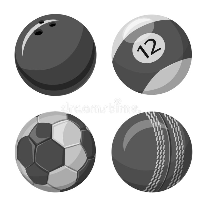 Isolerat objekt av sport- och bollsymbolet Samling av sporten och idrotts- vektorsymbol för materiel stock illustrationer