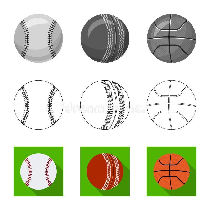 Isolerat objekt av sport- och bollsymbolet Uppsättning av sporten och idrotts- vektorsymbol för materiel vektor illustrationer
