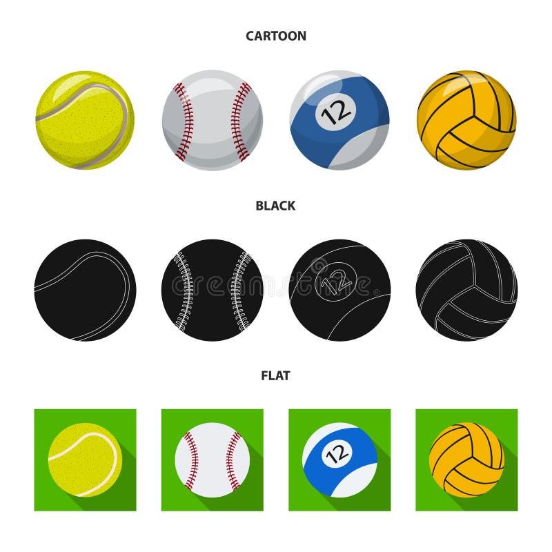 Isolerat objekt av sport- och bolltecknet Samling av sporten och det idrotts- materielsymbolet f?r reng?ringsduk stock illustrationer