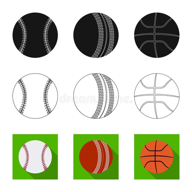 Isolerat objekt av sport- och bolltecknet Uppsättning av sporten och den idrotts- materielvektorillustrationen stock illustrationer