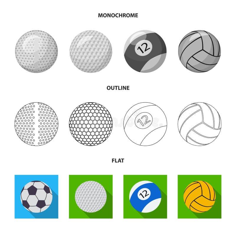 Isolerat objekt av sport- och bolltecknet Upps?ttning av sporten och det idrotts- materielsymbolet f?r reng?ringsduk royaltyfri illustrationer