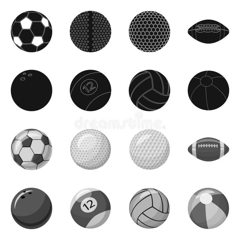 Isolerat objekt av sport- och bolltecknet Upps?ttning av sporten och idrotts- vektorsymbol f?r materiel stock illustrationer