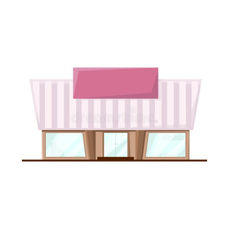 Isolerat objekt av stormarknaden och den moderna logoen Samling av illustrationen för stormarknad- och ingångsmaterielvektor royaltyfri illustrationer