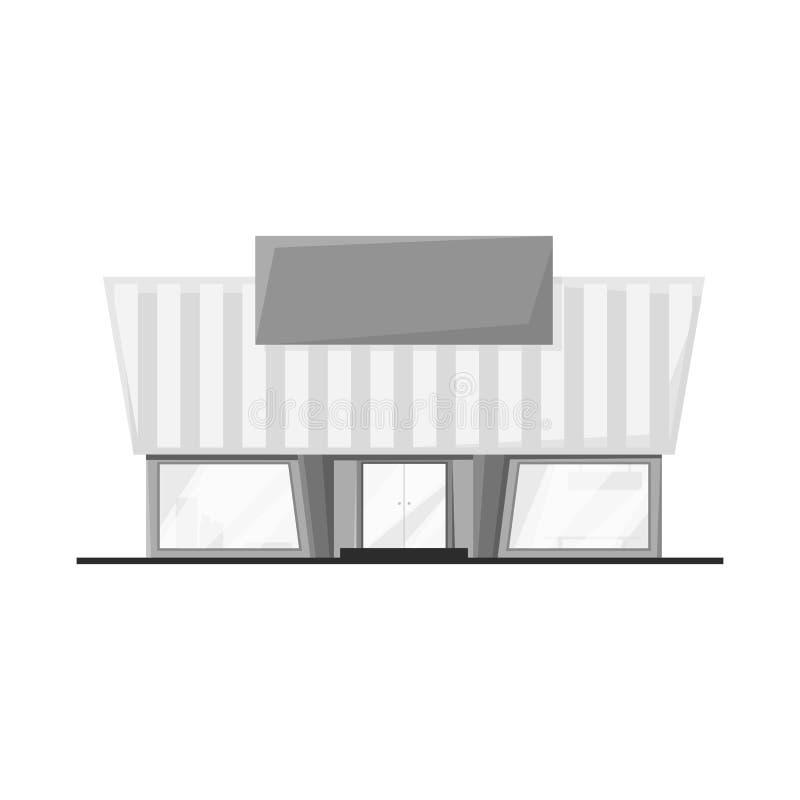 Isolerat objekt av stormarknaden och den moderna logoen Samling av stormarknad- och ingångsvektorsymbolen för materiel stock illustrationer