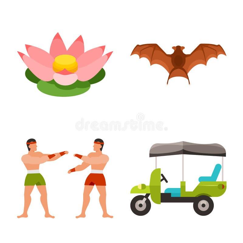 Isolerat objekt av Thailand och loppsymbolet Samling av Thailand och kulturmaterielsymbolet för rengöringsduk stock illustrationer