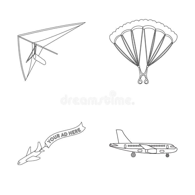 Isolerat objekt av transport- och objektsymbolen Ställ in av transport och att glida vektorsymbolen för materiel royaltyfri illustrationer